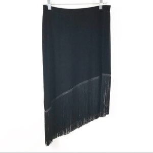 JS Collections Black Asymmetrical Fringe Skirt